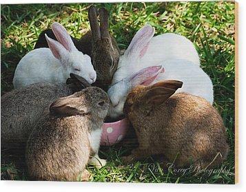 Bunny Tea Party Wood Print