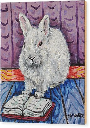 Bunny White Rabbit Reading A Book Wood Print by Jay  Schmetz