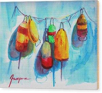 Colorful Buoys Wood Print