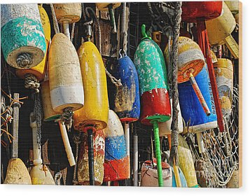 Buoys From Russell's Lobsters Wood Print by Lois Bryan
