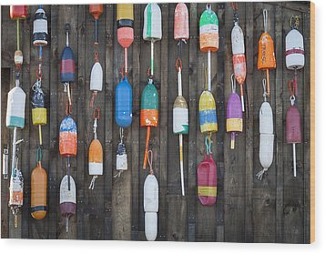 Buoys On The Shed II Wood Print