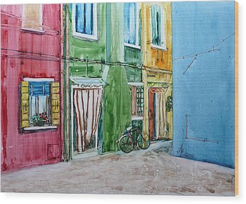 Wood Print featuring the painting Burano by Anna Ruzsan