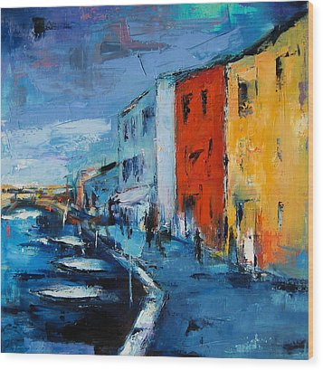 Burano Canal - Venice Wood Print by Elise Palmigiani