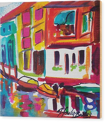 Burano Italy Side Street Sold Original Wood Print by Therese Fowler-Bailey