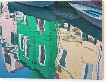 Burano Reflected Wood Print by Joan Herwig