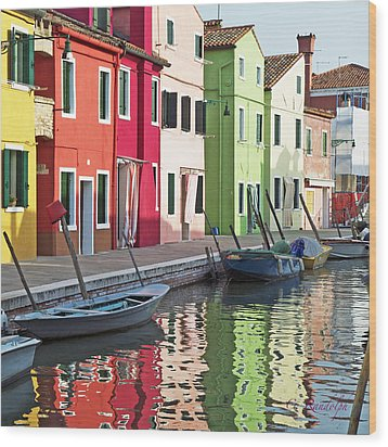 Burano Reflections Wood Print