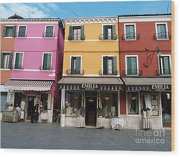 Wood Print featuring the painting Burano by Robin Maria Pedrero