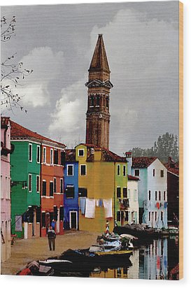 Burano Tower Wood Print