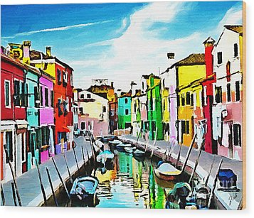 Burano - Venice - Italy Wood Print by Ze  Di