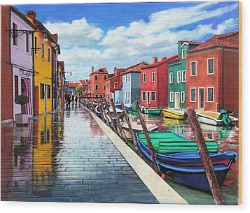 Burano War Of Colors Wood Print by Richard Barone