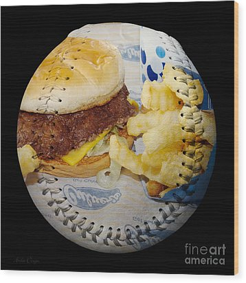 Burger And Fries Baseball Square Wood Print by Andee Design