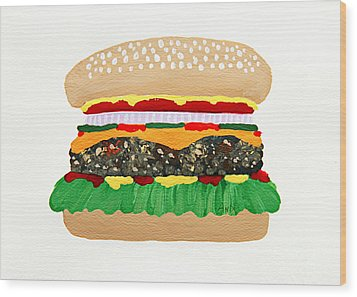 Burger Me Wood Print by Andee Design
