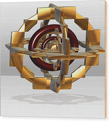 Wood Print featuring the digital art Burgundy And Gold by Melissa Messick