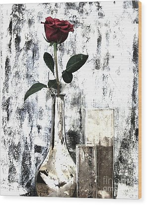 Burgundy Beauty Rose Wood Print by Marsha Heiken