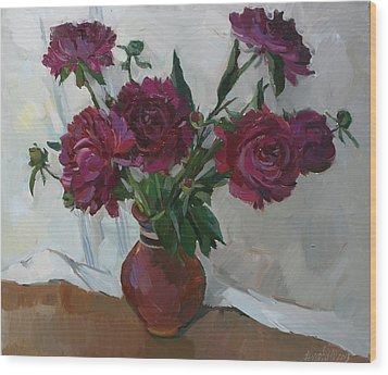 Burgundy Peonies Wood Print