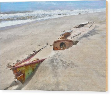 Buried Treasure - Shipwreck On The Outer Banks I Wood Print by Dan Carmichael