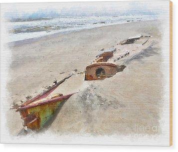 Buried Treasure - Shipwreck On The Outer Banks II Wood Print by Dan Carmichael