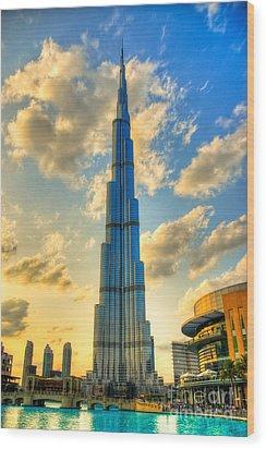 Burj Khalifa Wood Print by Syed Aqueel