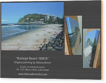 Wood Print featuring the painting Burleigh Beach 100910 Comp by Selena Boron