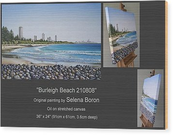 Wood Print featuring the painting Burleigh Beach 210808 by Selena Boron