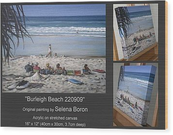 Wood Print featuring the painting Burleigh Beach 220909 by Selena Boron
