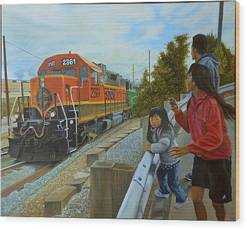 Burlington Northern Santa Fe Wood Print by Thu Nguyen