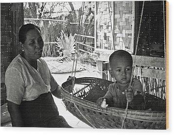 Burmese Grandmother And Grandchild Wood Print by RicardMN Photography