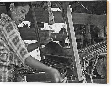 Burmese Woman Working With A Handloom Weaving. Wood Print by RicardMN Photography