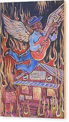 Burnin' Blue Spirit Wood Print by Robert Ponzio
