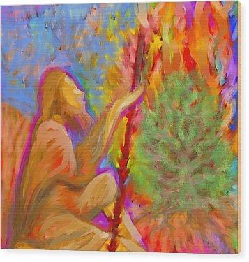 Burning Bush Of Yhwh Wood Print