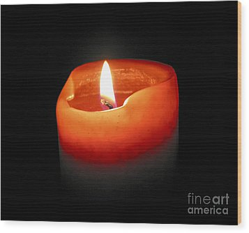 Burning Candle Wood Print by Elena Elisseeva