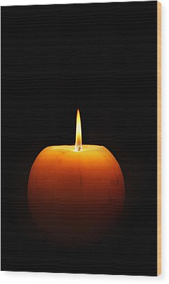 Burning Candle Wood Print by Johan Swanepoel