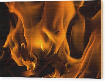 Burning Holly Wood Print