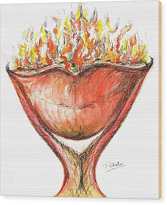 Wood Print featuring the painting Burning Hot Lips by Teresa White