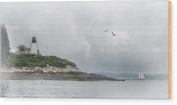 Burnt Island Light Wood Print by Lori Deiter
