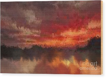 Burnt Sunset Wood Print