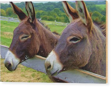 Burro Gang Wood Print by Ayse Deniz