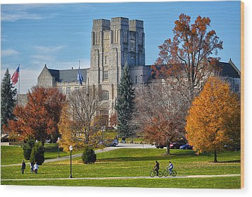 Burruss Hall Wood Print by Mitch Cat