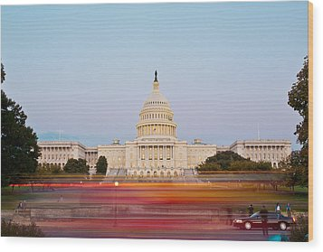 Bus Blur And U.s.capitol Building Wood Print by Richard Nowitz