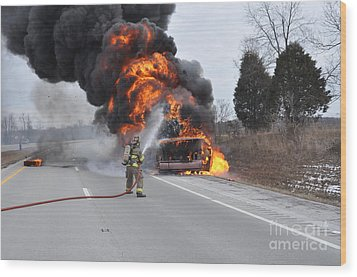 Bus Fire Wood Print by Steven Townsend