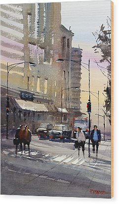 Bus Stop - Chicago Wood Print