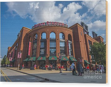 Busch Stadium Clouds Wood Print