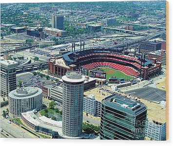 Busch Stadium From The Top Of The Arch Wood Print