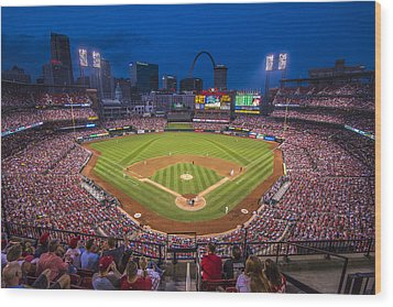 Busch Stadium St. Louis Cardinals Night Game Wood Print by David Haskett