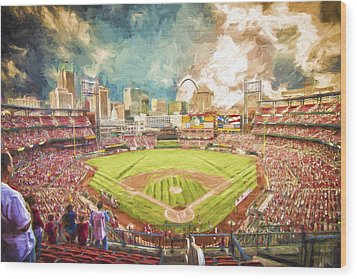 Busch Stadium St. Louis Cardinals Day Paint Wood Print by David Haskett