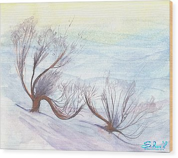 Dancing In The Snow Wood Print