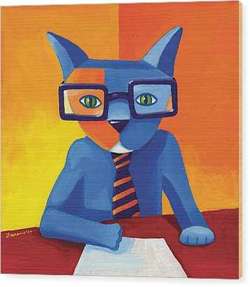 Business Cat Wood Print