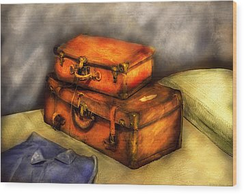 Business Man - Packed Suitcases Wood Print by Mike Savad