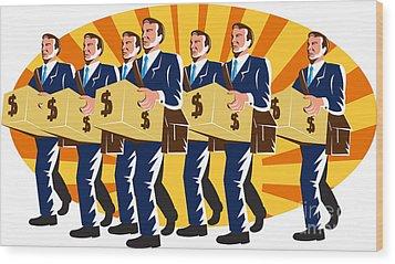 Businessman Banker Worker Carry Money Box Retro Wood Print by Aloysius Patrimonio