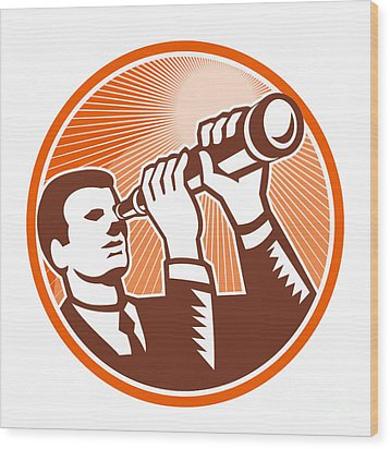 Businessman Holding Looking Telescope Woodcut Wood Print by Aloysius Patrimonio